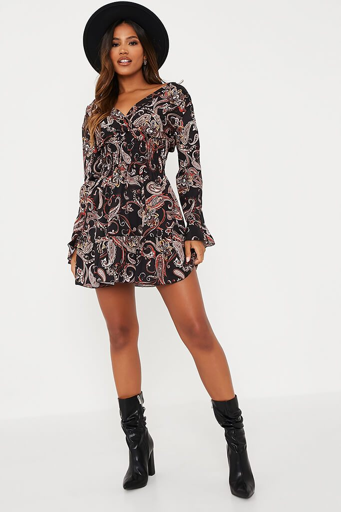 Black Woven Paisley Print Shirred Waist Skater Dress view 2