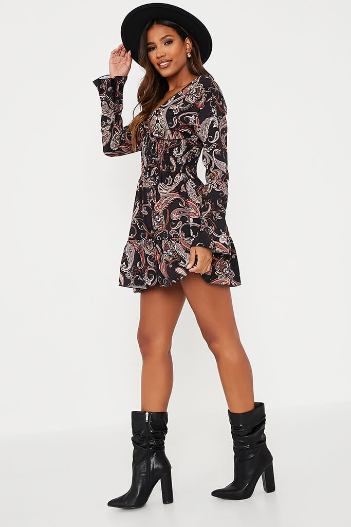 Black Woven Paisley Print Shirred Waist Skater Dress view 3
