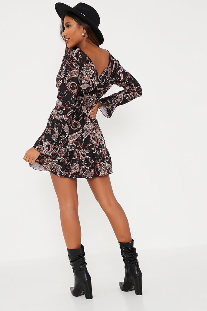 Black Woven Paisley Print Shirred Waist Skater Dress view 4