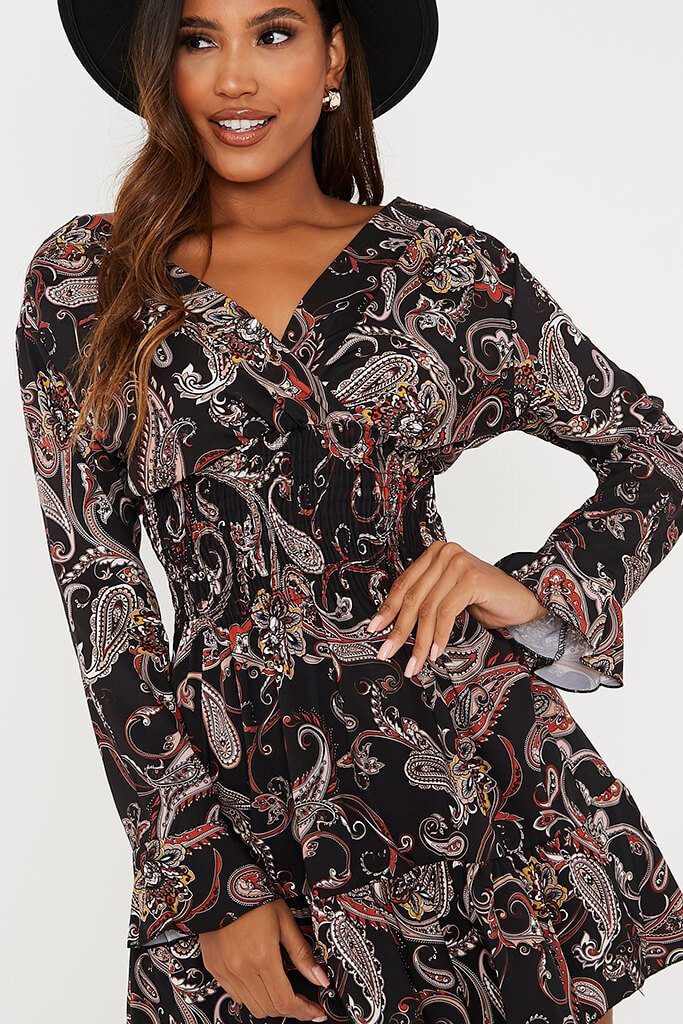 Black Woven Paisley Print Shirred Waist Skater Dress view 5
