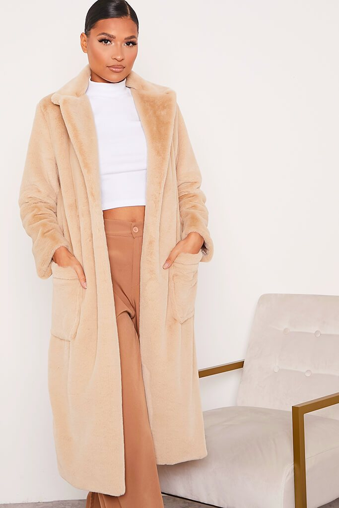 Stone Faux Fur Long Line Coat With Pockets view 2
