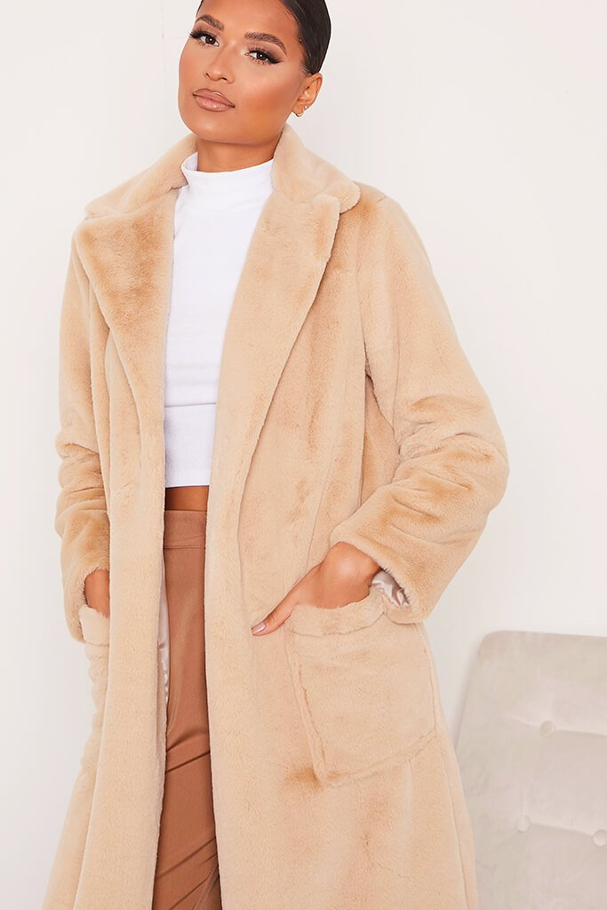Stone Faux Fur Long Line Coat With Pockets view 5