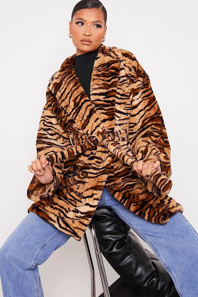 Black Faux Fur Belted Coat In Tiger Print
