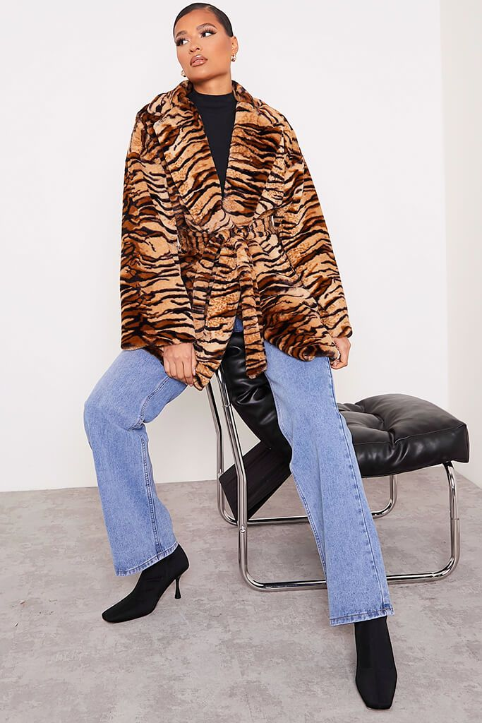 Black Faux Fur Belted Coat In Tiger Print view 2