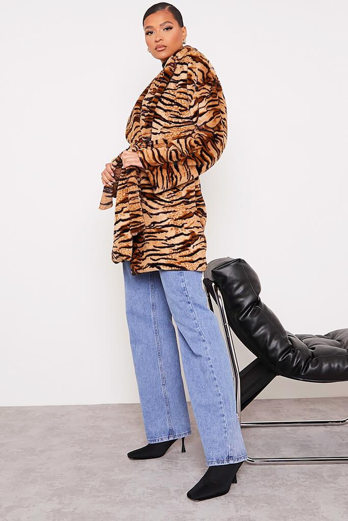 Black Faux Fur Belted Coat In Tiger Print view 3