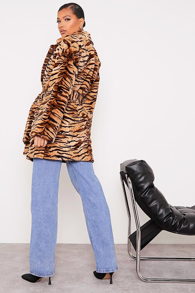 Black Faux Fur Belted Coat In Tiger Print view 4