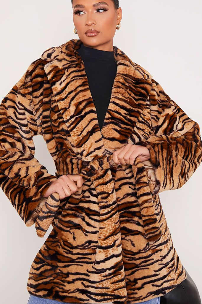 Black Faux Fur Belted Coat In Tiger Print view 5