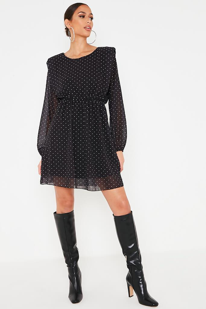 Black Polka Dot Chiffon Shoulder Pad Skater Dress