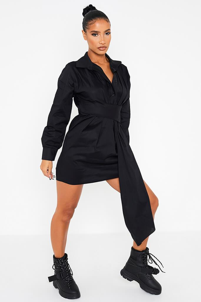 Black Cotton Poplin Drape Front Shirt Dress view 3