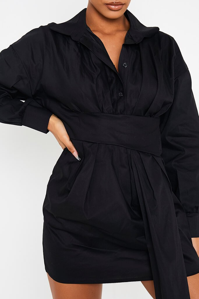 Black Cotton Poplin Drape Front Shirt Dress view 5