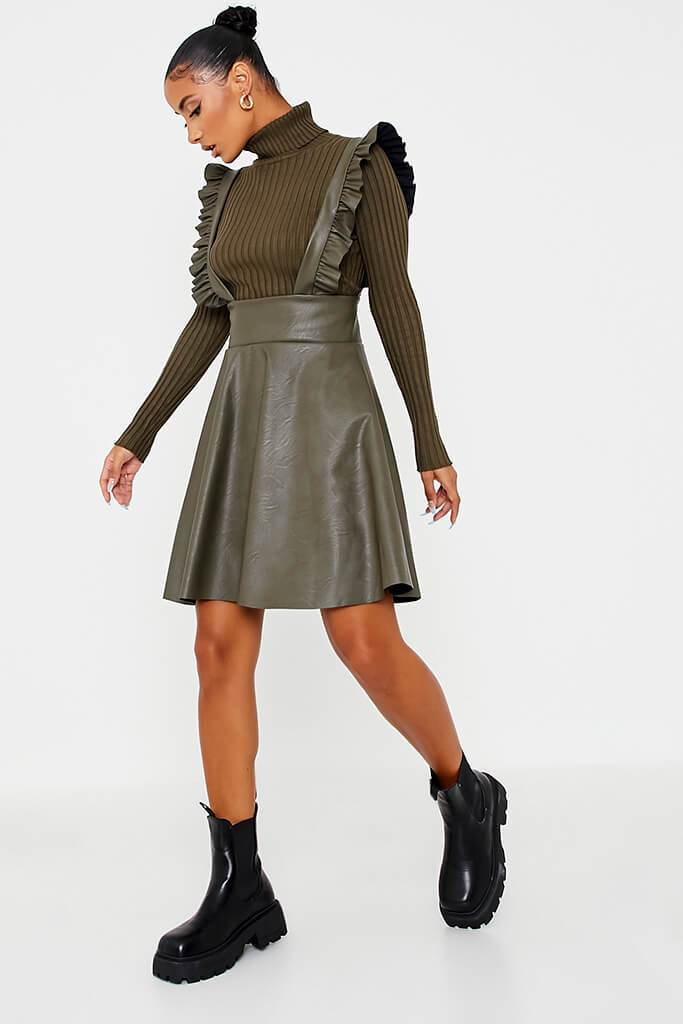 Khaki Faux Leather Frill Skater Pinafore view 3