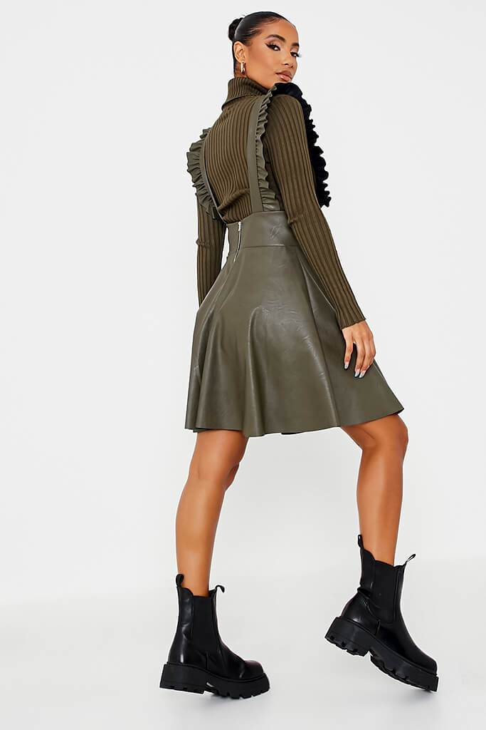Khaki Faux Leather Frill Skater Pinafore view 4