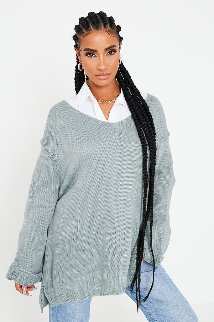Sage Longline Jumper With Turn Up Cuffs