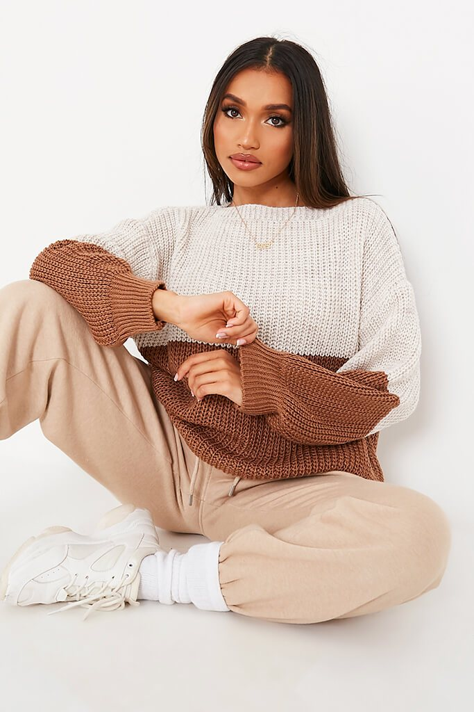 Stone & Chocolate Knitted Colour Block Slash Jumper