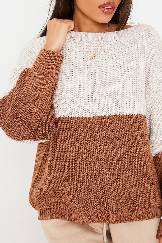 Stone & Chocolate Knitted Colour Block Slash Jumper view 5