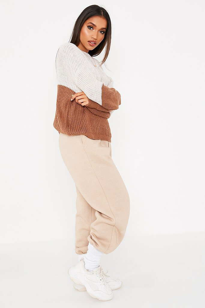 Stone & Chocolate Knitted Colour Block Slash Jumper view 3