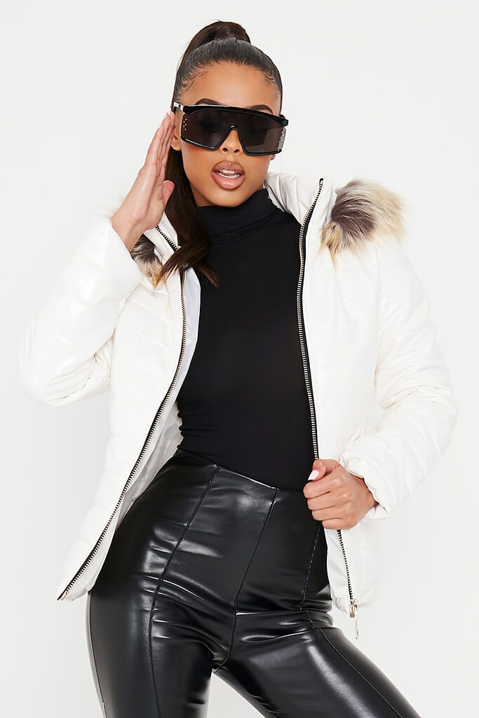 White Vinyl Padded Zip Up Coat With Faux Fur Hood