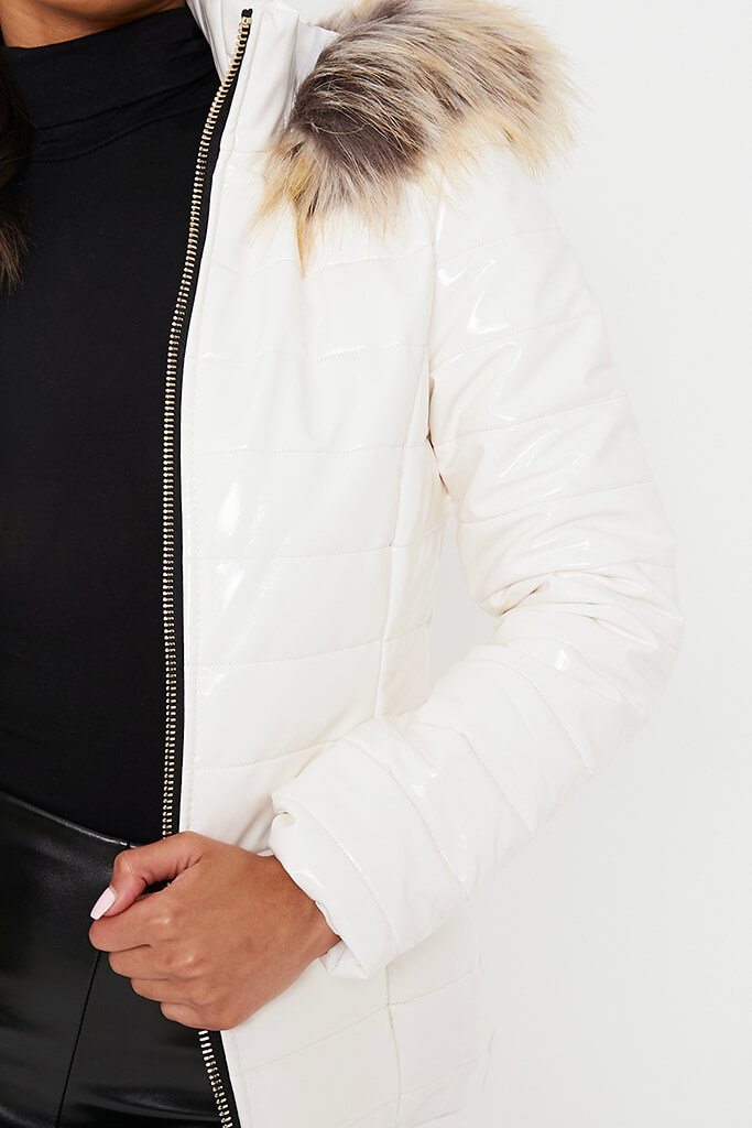 White Vinyl Padded Zip Up Coat With Faux Fur Hood view 5