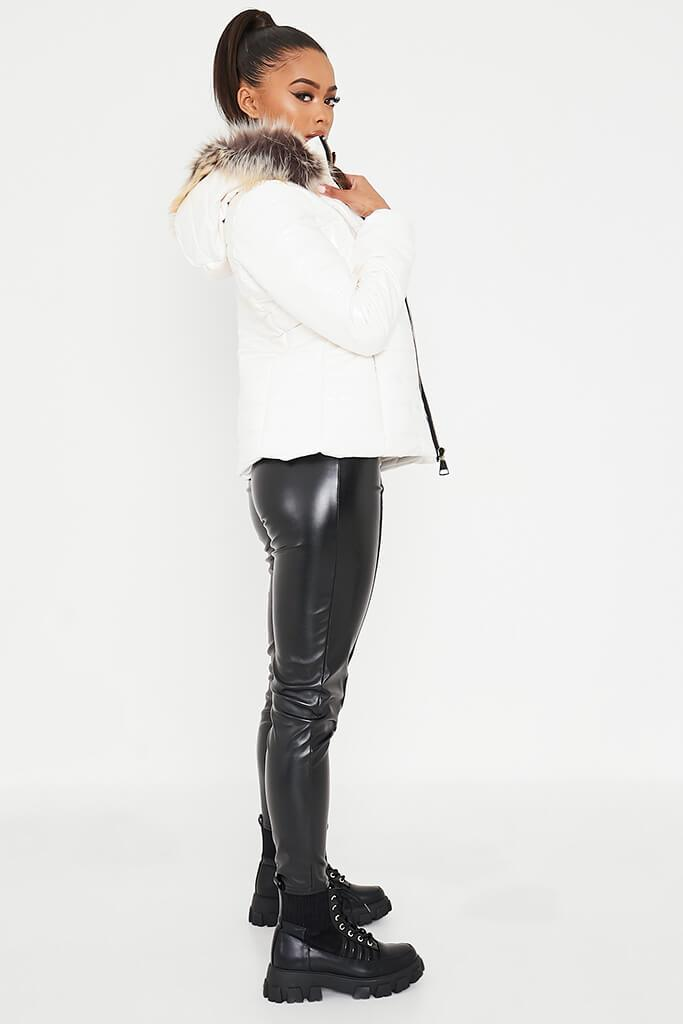 White Vinyl Padded Zip Up Coat With Faux Fur Hood view 3