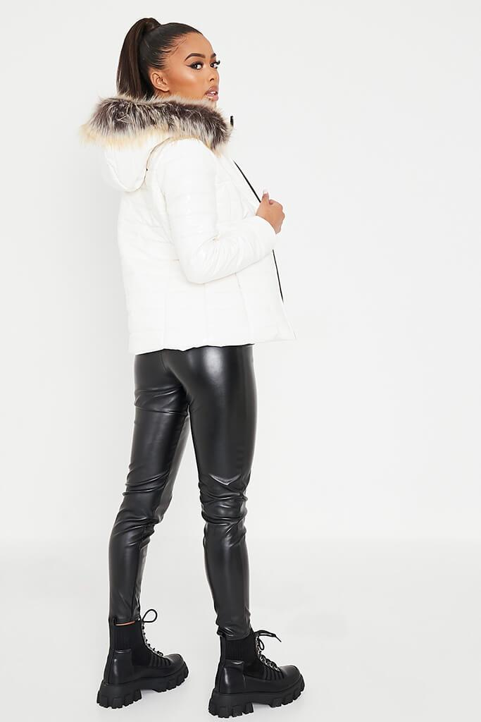 White Vinyl Padded Zip Up Coat With Faux Fur Hood view 4