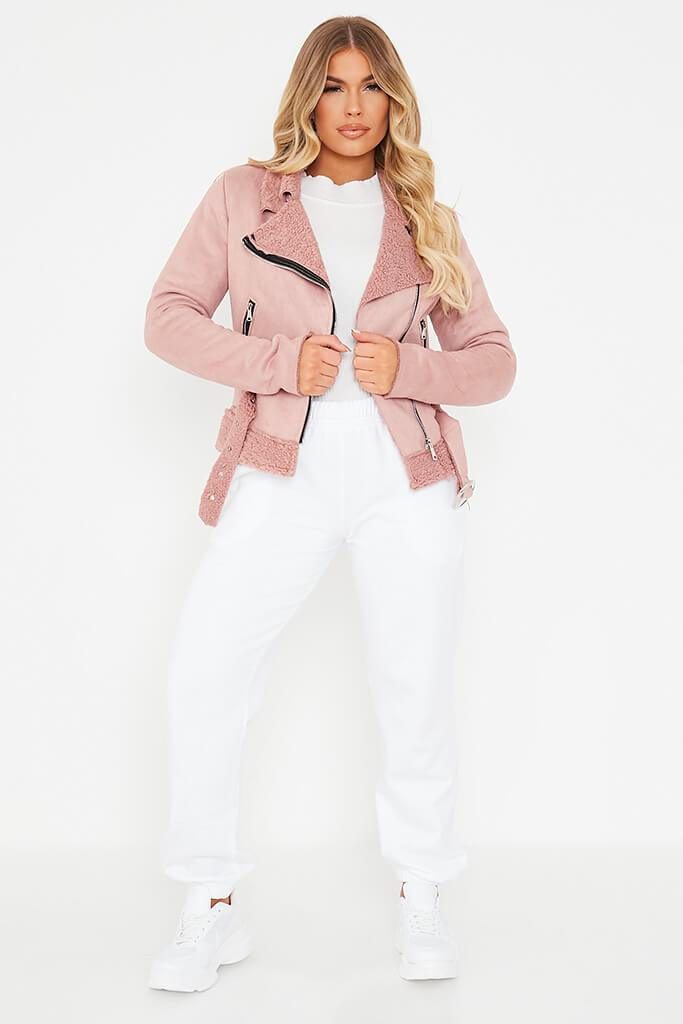 Pink Faux Suede And Borg Aviator Jacket view 2