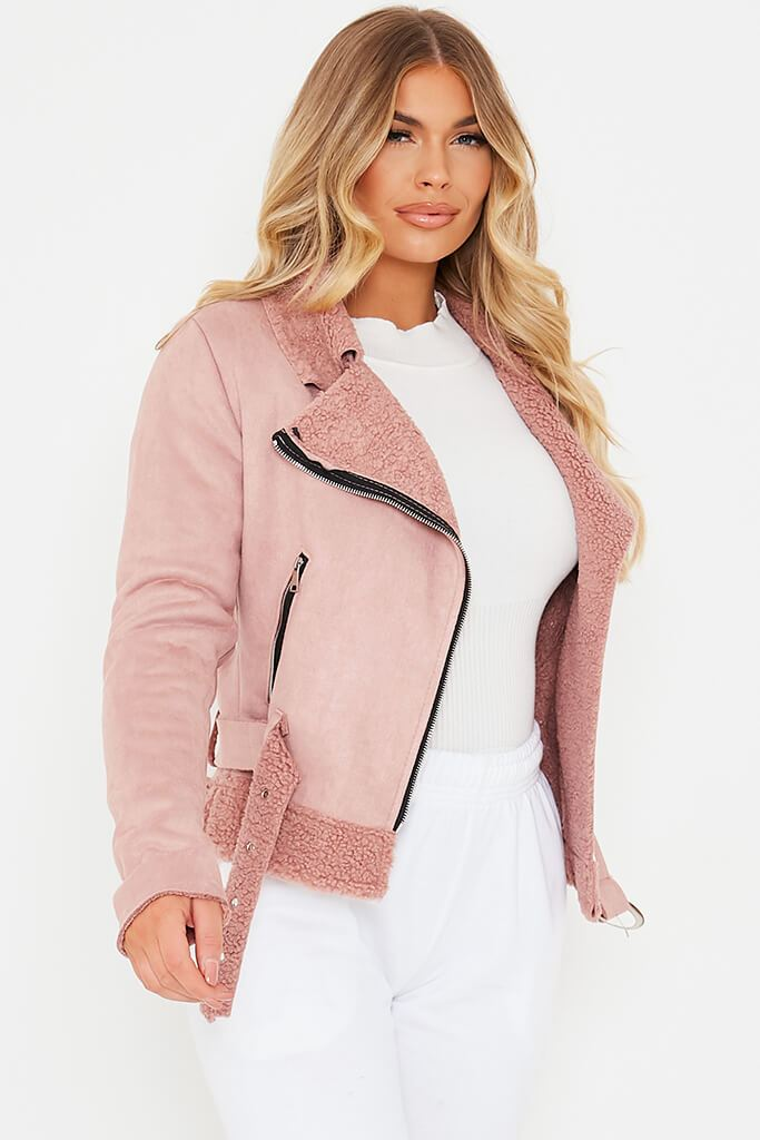 Pink Faux Suede And Borg Aviator Jacket