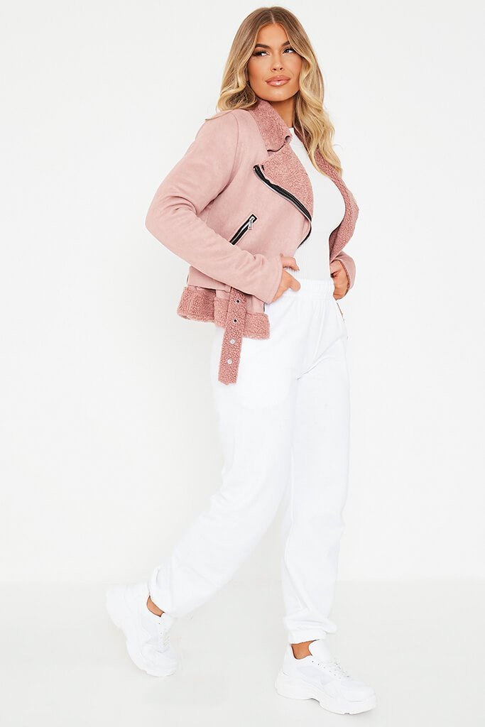 Pink Faux Suede And Borg Aviator Jacket view 3