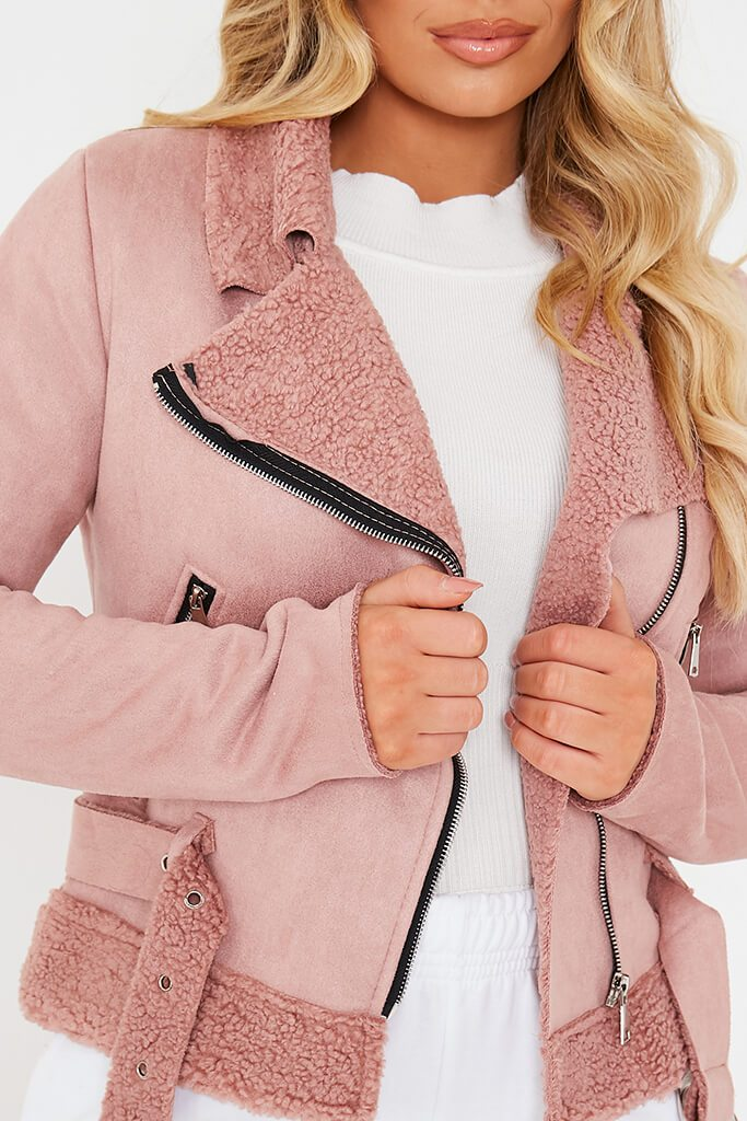 Pink Faux Suede And Borg Aviator Jacket view 5