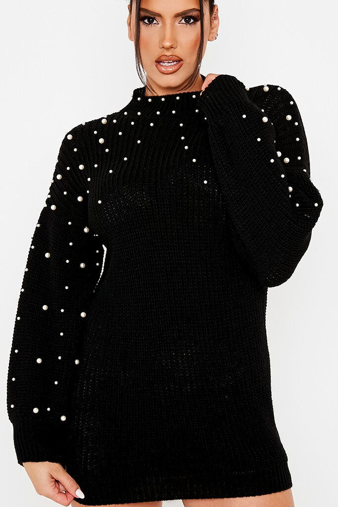 Black High Neck Jumper Dress With Pearl Embellishment view 5