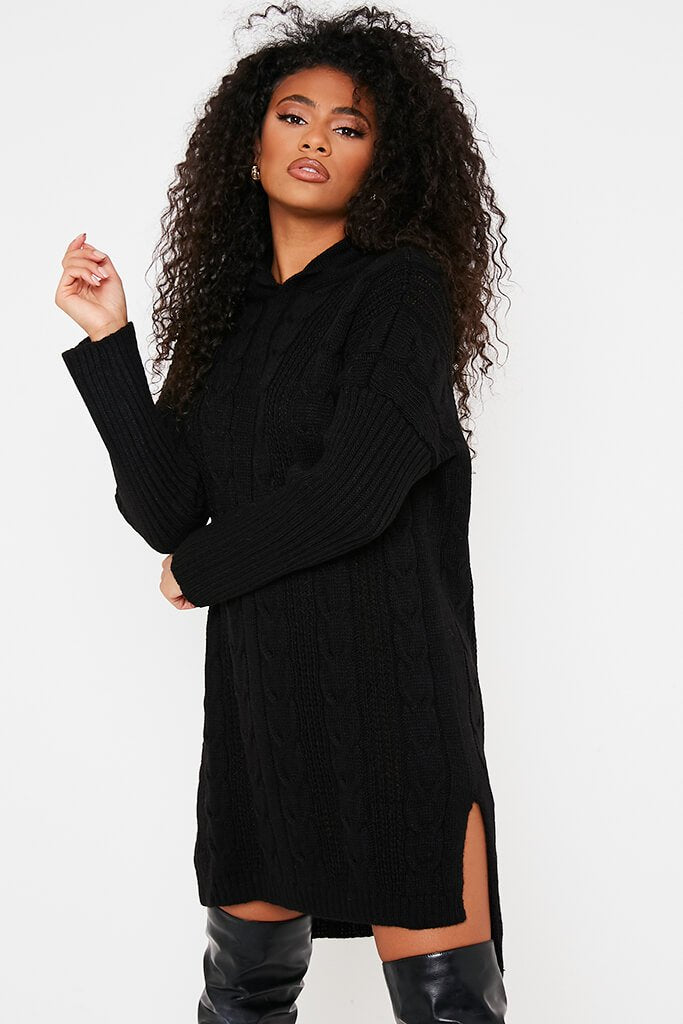 Black Cable Neck Jumper Dress With Hood