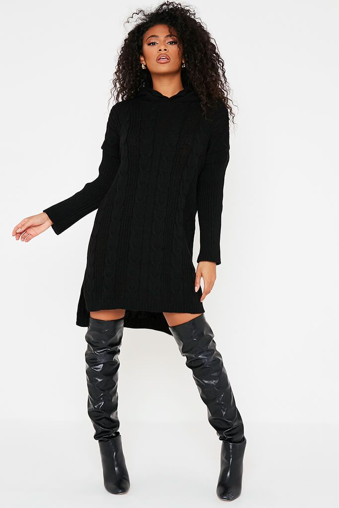 Black Cable Neck Jumper Dress With Hood view 2