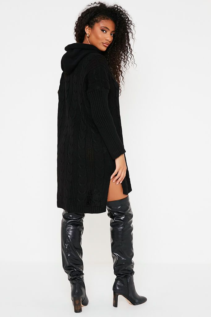 Black Cable Neck Jumper Dress With Hood view 4