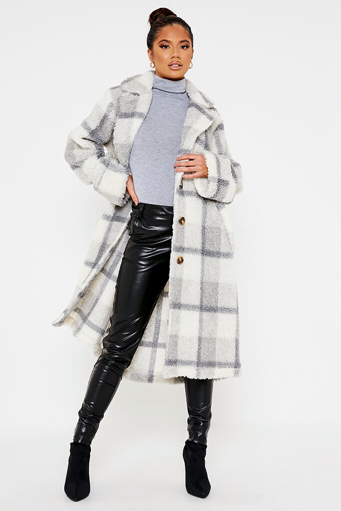 Ivory Check Borg Long Line Coat