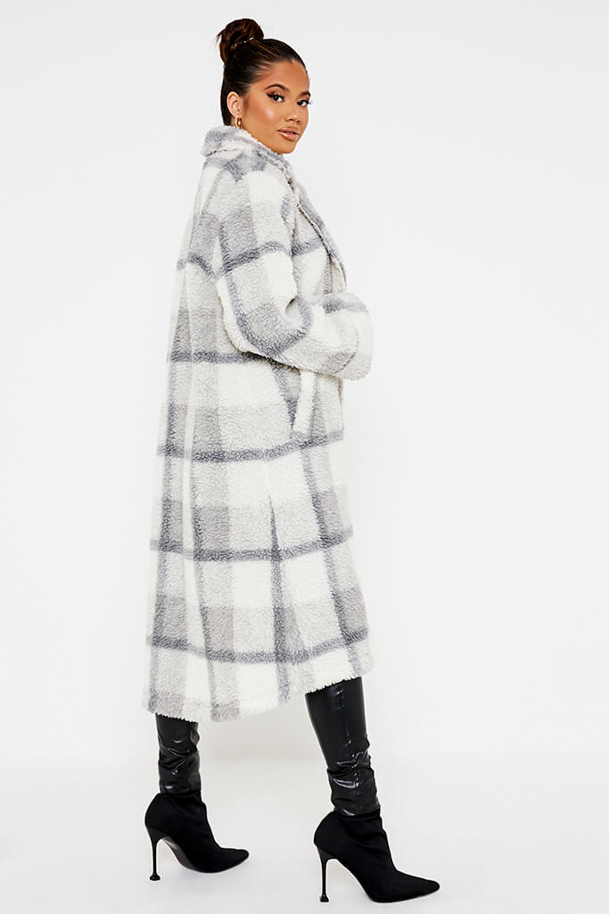 Ivory Check Borg Long Line Coat view 3