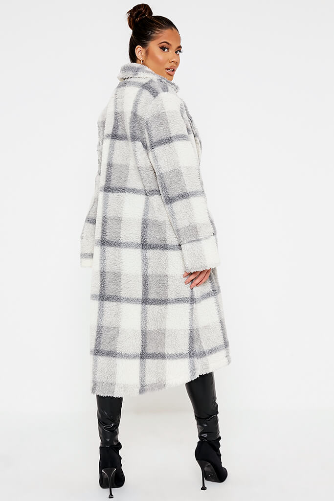 Ivory Check Borg Long Line Coat view 4