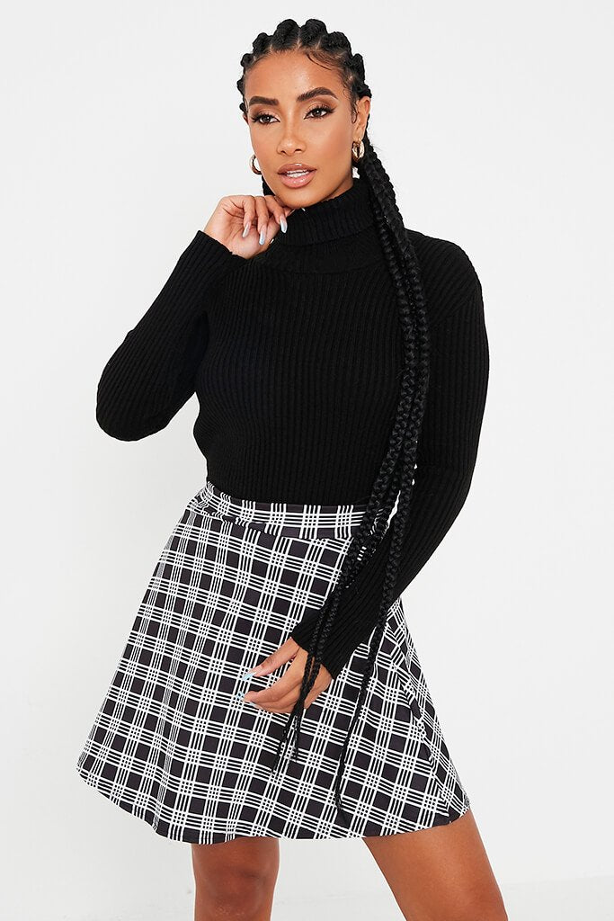 Black Check Print Jersey Skater Skirt