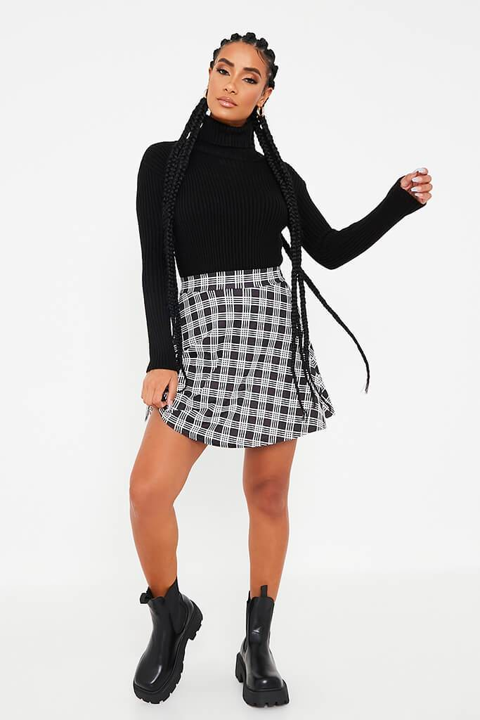Black Check Print Jersey Skater Skirt view 2