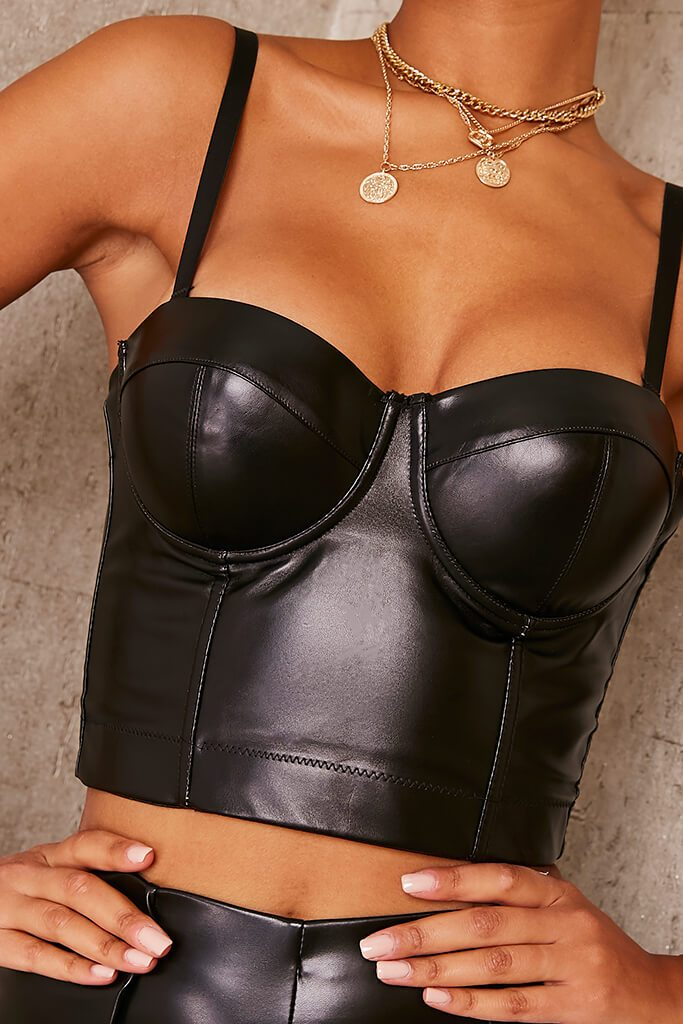 Black Corset Faux Leather Crop Top view 5