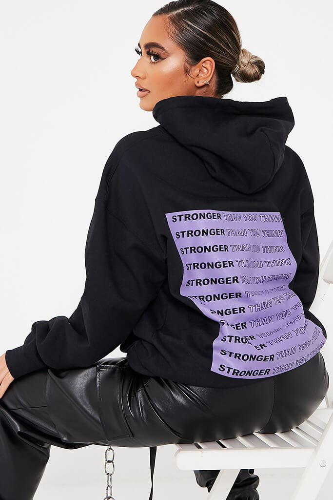 Black ' Stronger Than You Think ' Oversized Hoodie