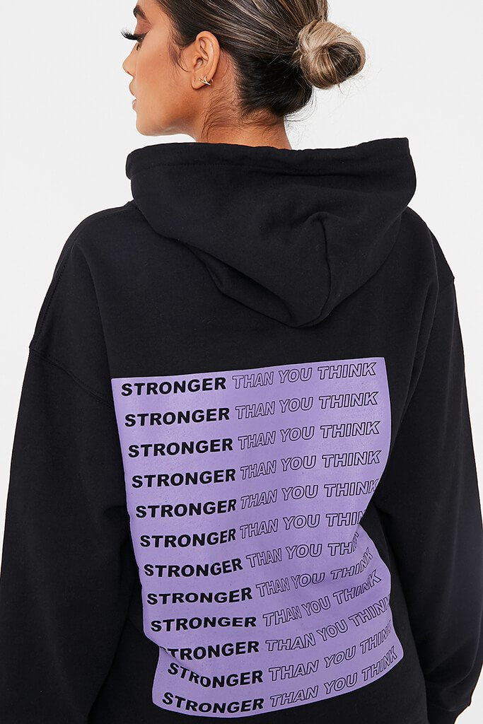 Black ' Stronger Than You Think ' Oversized Hoodie view 5