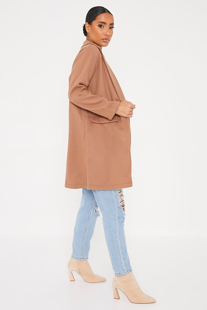 Camel Midi Wool Coat With Pocket Detail view 3