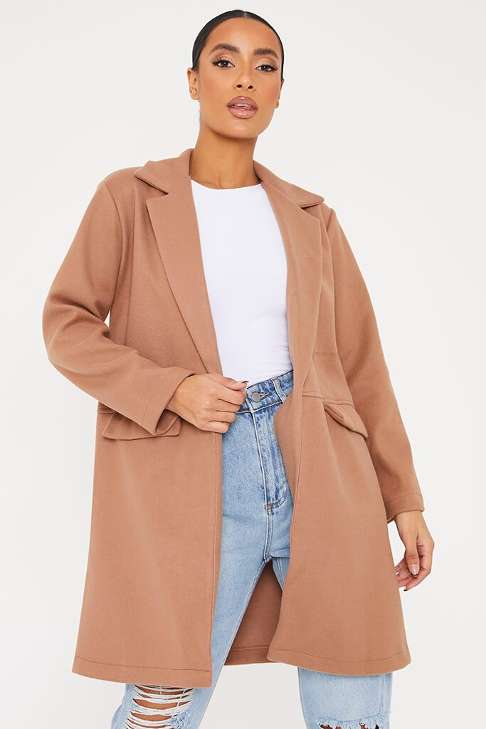 Camel Midi Wool Coat With Pocket Detail