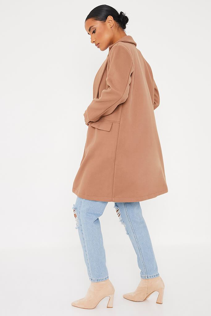 Camel Midi Wool Coat With Pocket Detail view 4