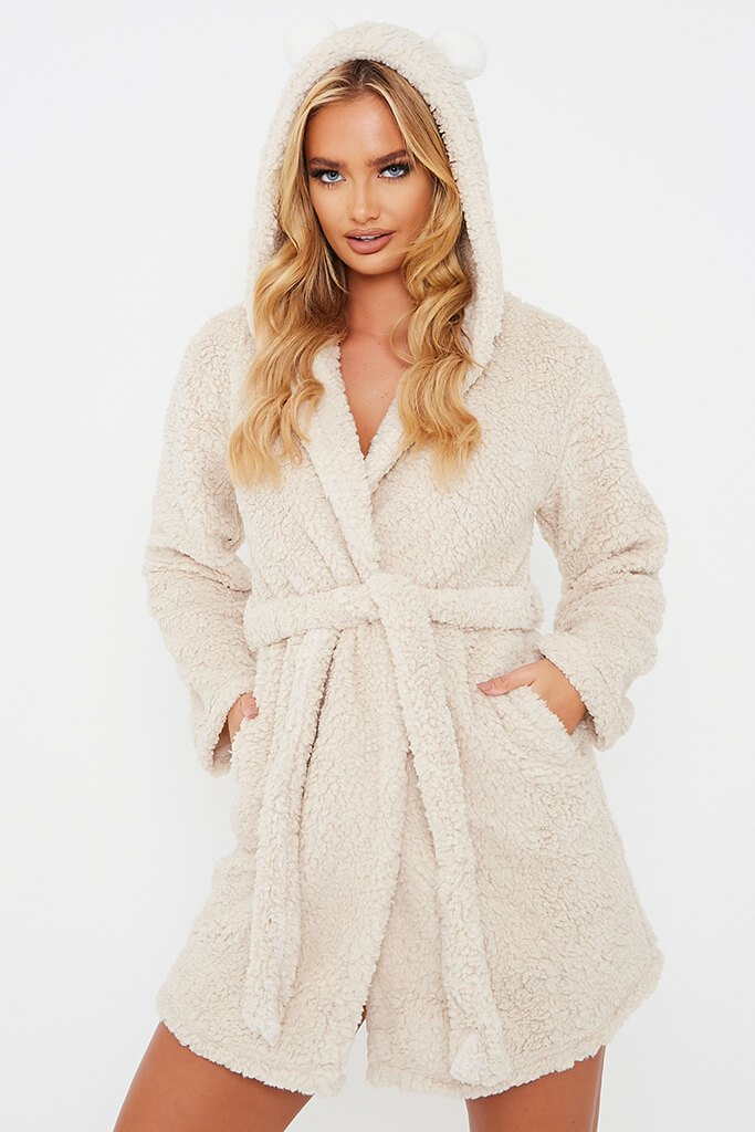 Stone Pom Pom Ears Fleece Dressing Gown
