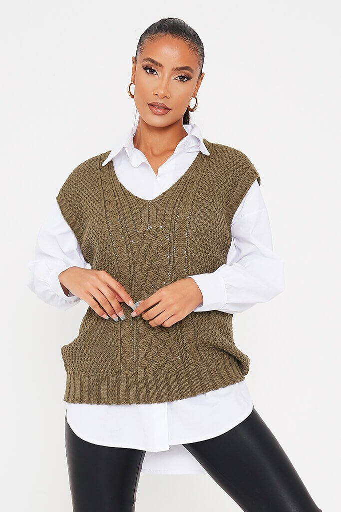 Khaki Cable Knit Sleeveless Vest view main view
