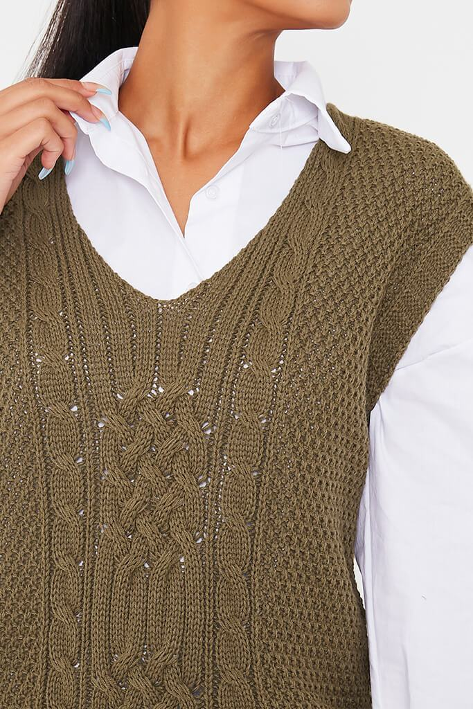 Khaki Cable Knit Sleeveless Vest view 5