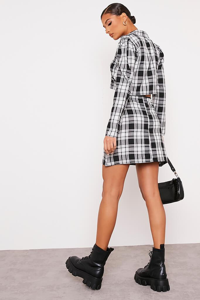 Black & White Checked Mini Skirt With Front Pockets view 4