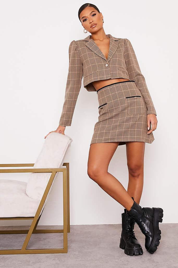 Brown Checked Mini Skirt With Front Pockets view 2
