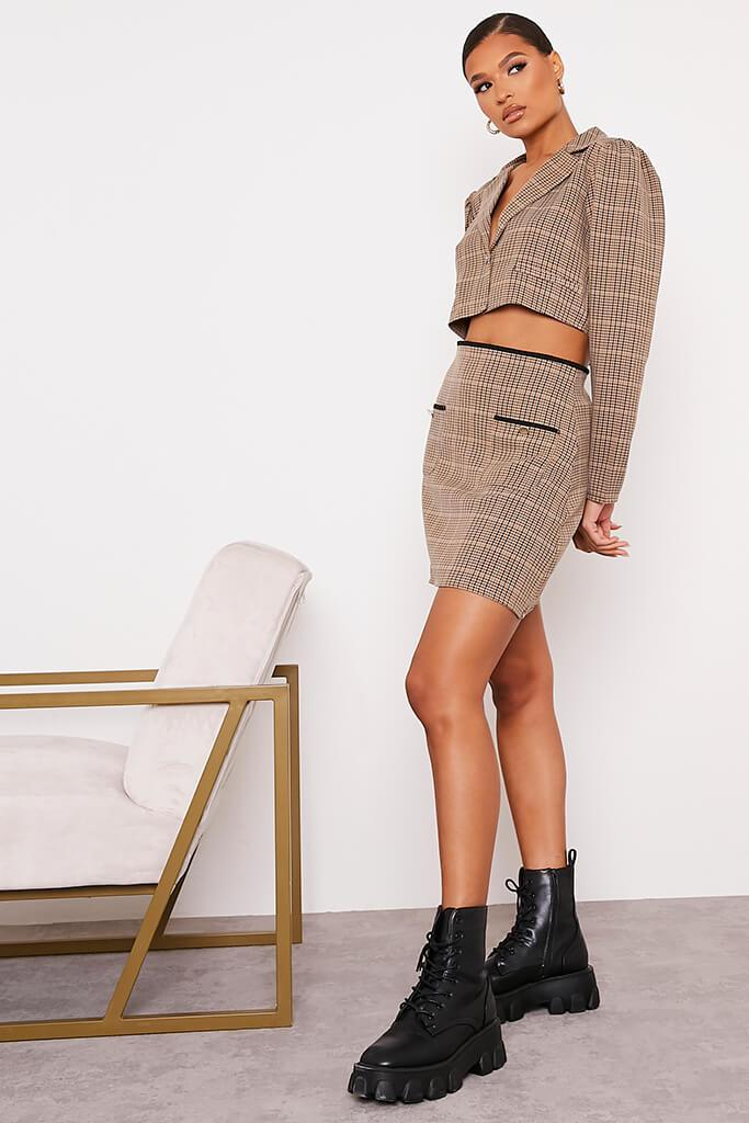 Brown Checked Mini Skirt With Front Pockets view 3