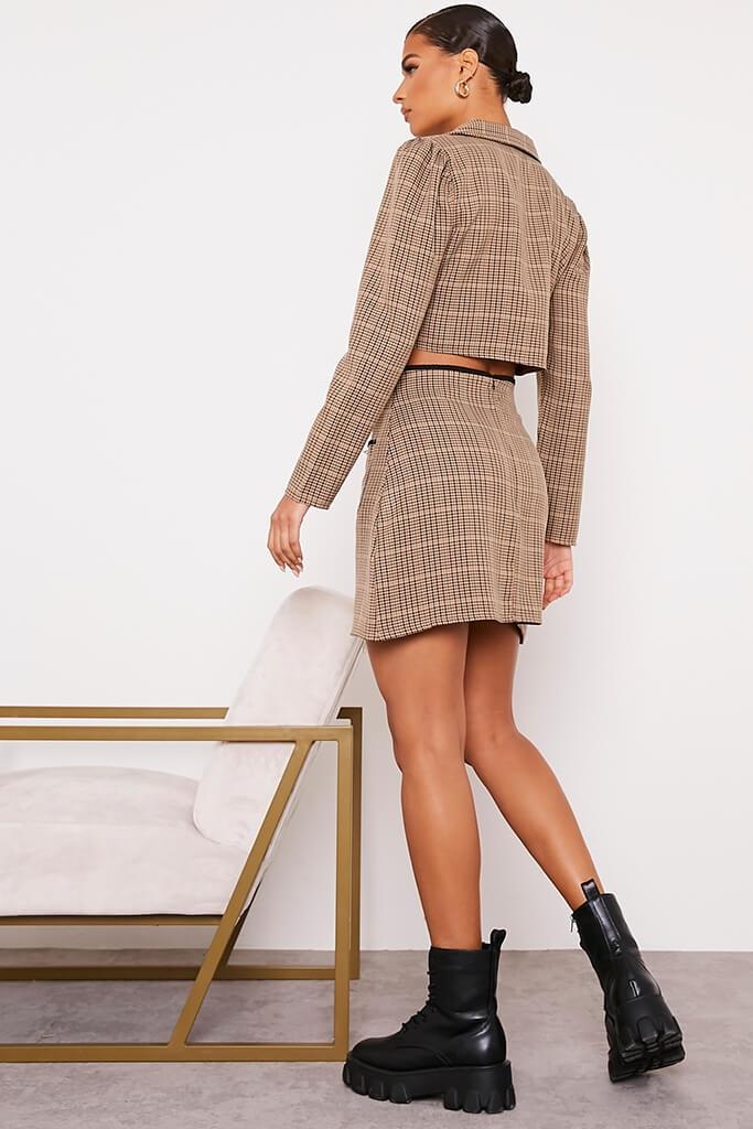 Brown Checked Mini Skirt With Front Pockets view 4